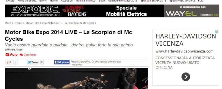 Motori On Line – Motor Bike Expo 2014 LIVE – La Scorpion di Mc Cycles
