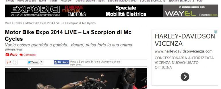 Motori On Line – Motor Bike Expo 2014 LIVE – La Scorpion di Mc Cycles